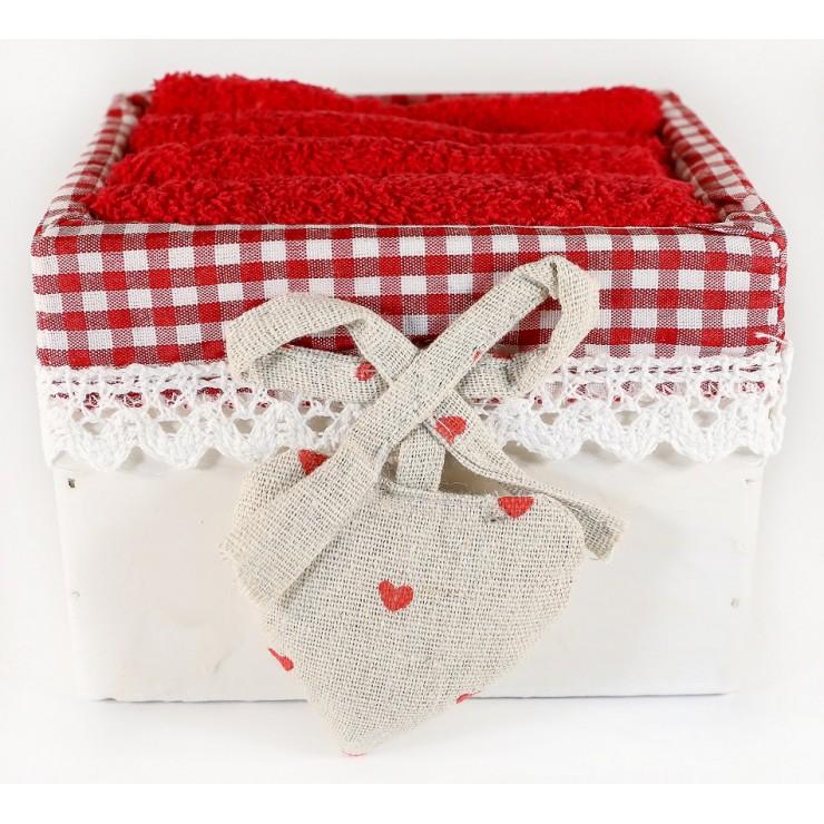Dárkový set 4 ks rudých ručníků Ortisei