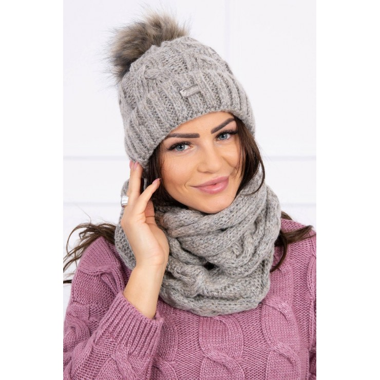 Women's Winter Set hat and scarf  MIK127 beige