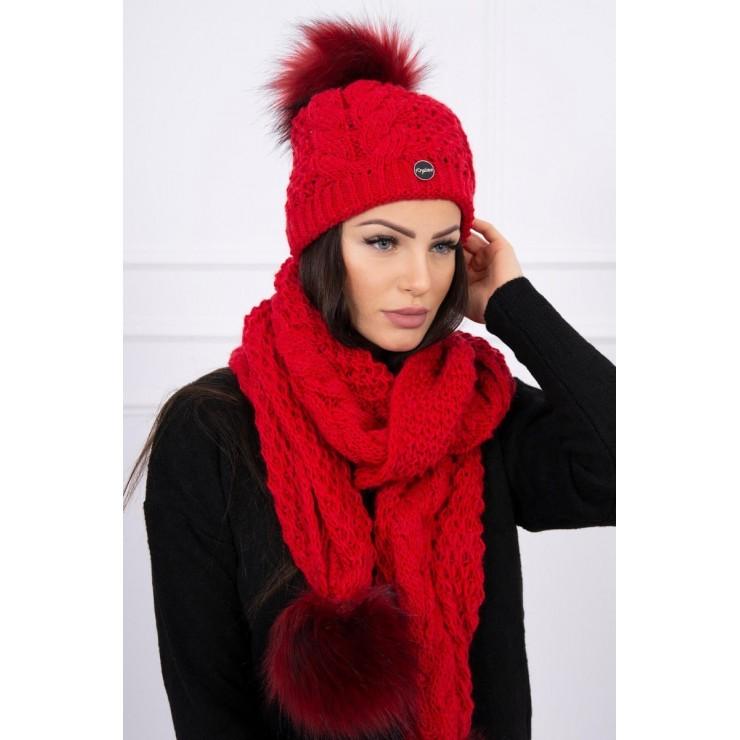 Dámsky set čiapka a šál K110 červený