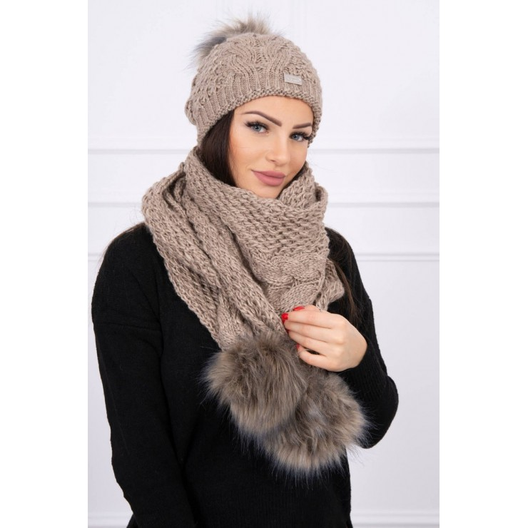 Women's Winter Set hat and scarf  K110 cappuccino