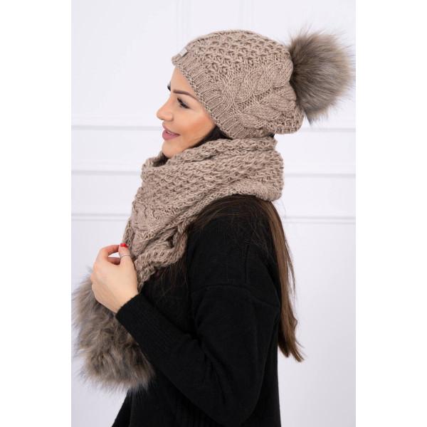 hol lehet megvenni akár 80% megtakarítás új, kiváló minőségű Női téli kalap és sál K110 cappuccino - MONDO ITALIA s.r.o.