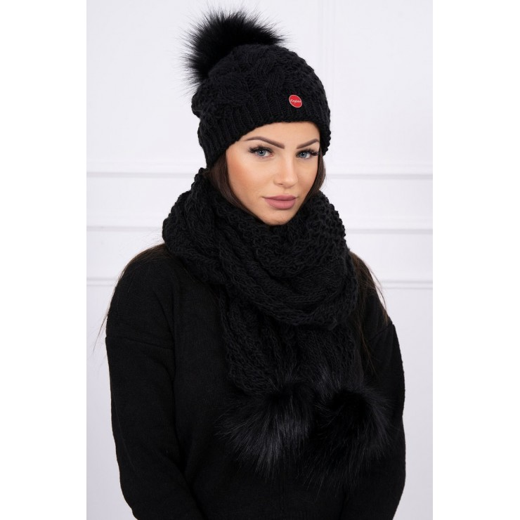 Women's Winter Set hat and scarf  K110 black