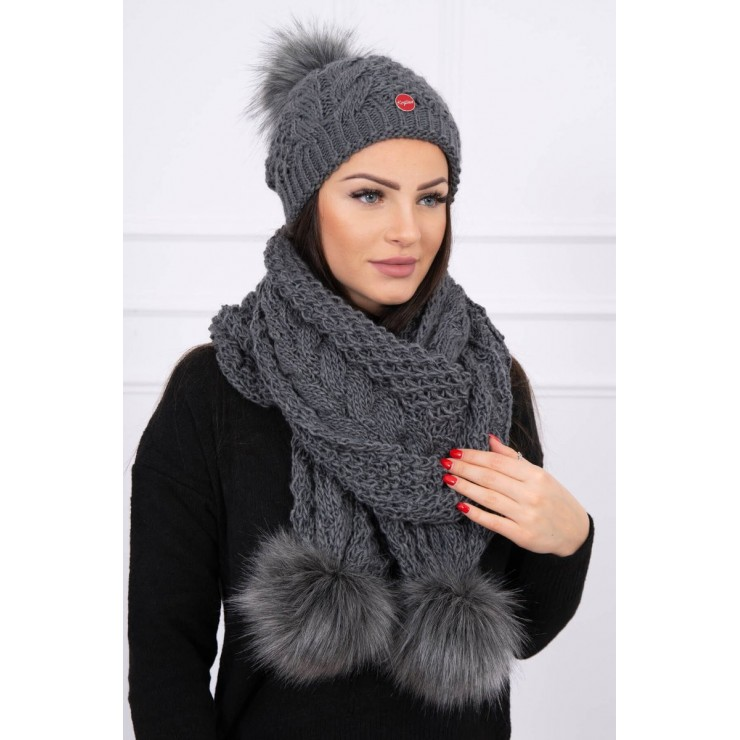 Women's Winter Set hat and scarf  K110 dark gray