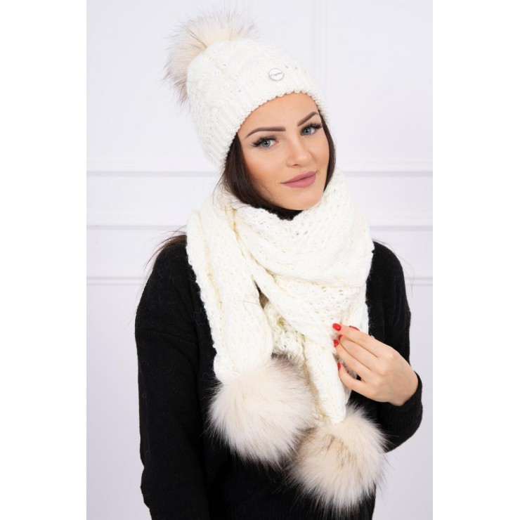 Women's Winter Set hat and scarf  MI522 cream