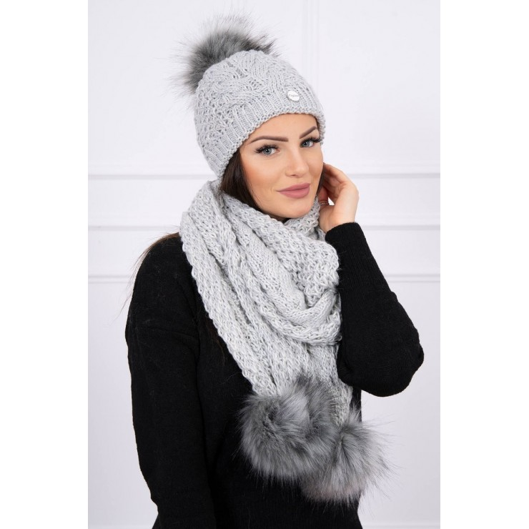 Women's Winter Set hat and scarf  MI522 gray