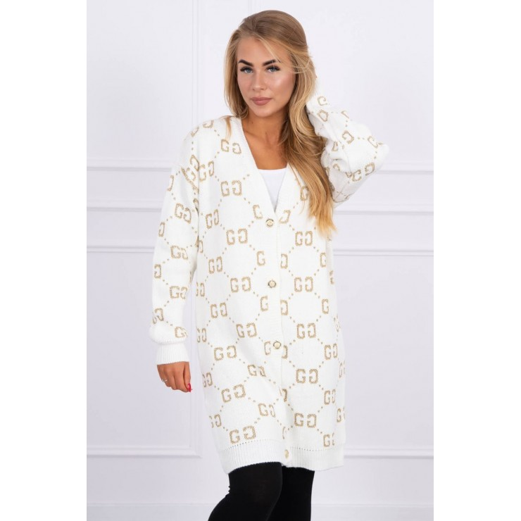 Ladies sweater with gold buttons 2019-32 cream
