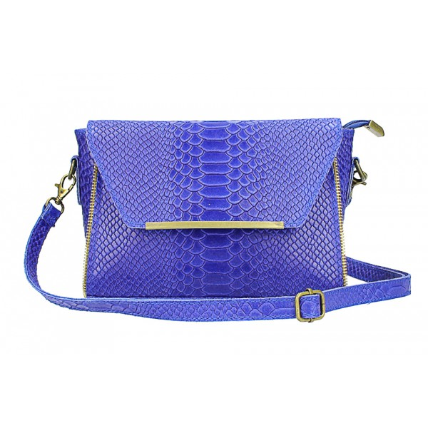 Kožená kabelka potlač pytón 528 azurovo modrá Made in Italy Modrá