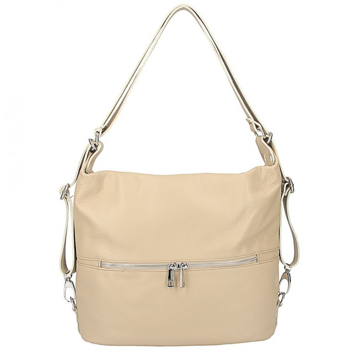 Kožená kabelka na rameno/batoh 328 šedohnedá