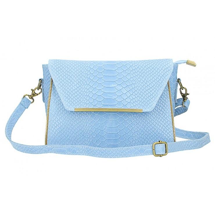 Kožená kabelka potlač pytón 528 nebesky modrá Made in Italy