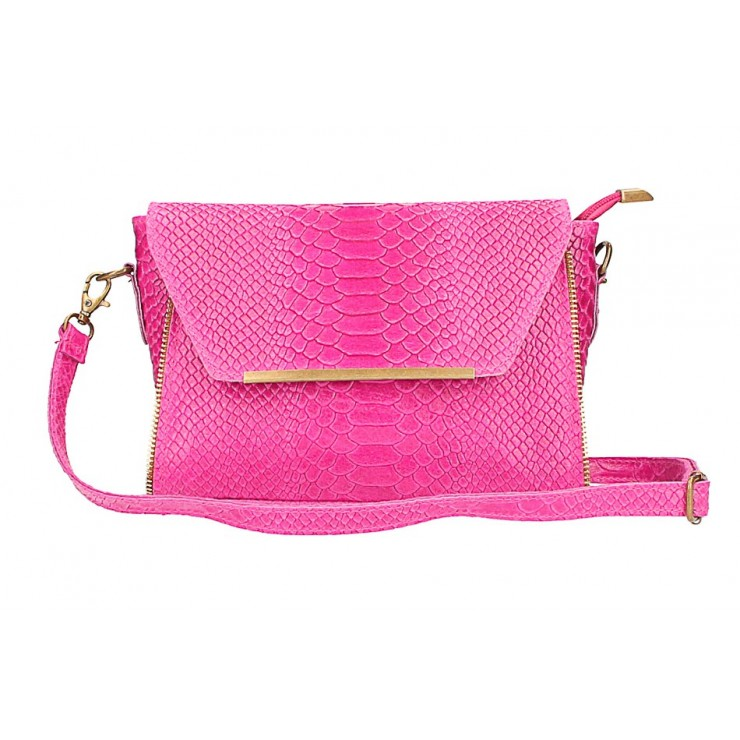 Leather messenger bag 528 fuxia Made in Italy