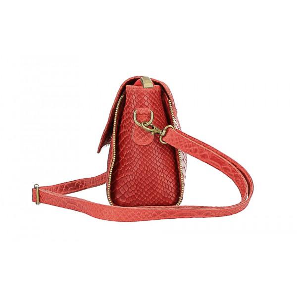 Kožená kabelka potlač pytón 528 fuchsia Made in Italy Fuchsia