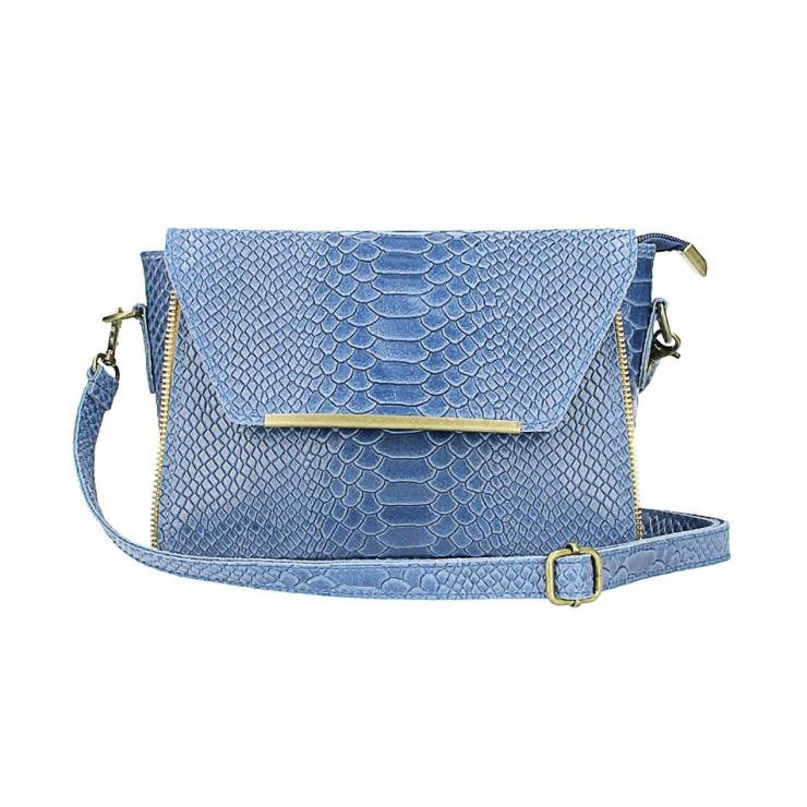 Kožená kabelka potlač pytón 528 jeans Made in Italy