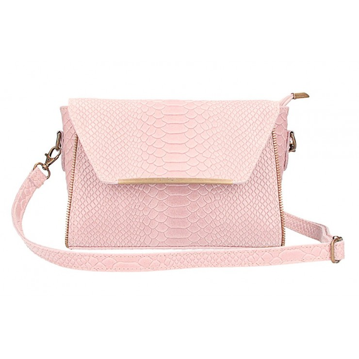 Leather messenger bag 528 powder pink Made in Italy