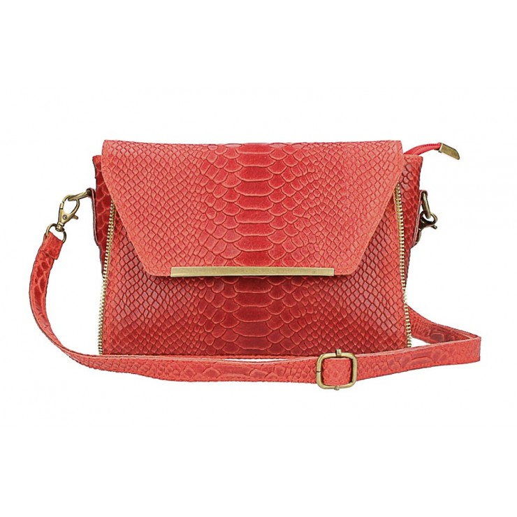 Kožená kabelka potlač pytón 528 červená Made in Italy