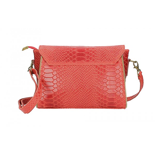 Kožená kabelka potlač pytón 528 červená Made in Italy Červená