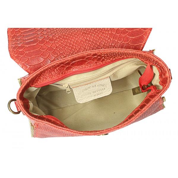 Kožená kabelka potlač pytón 528 okrová Made in Italy Okrová