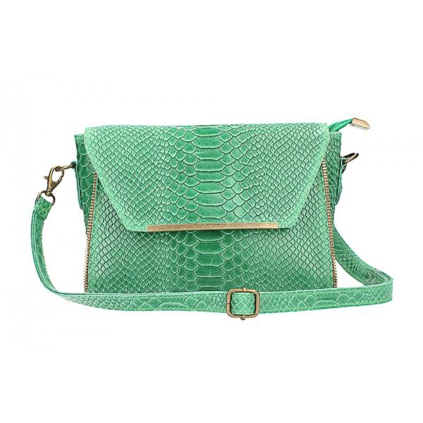 Kožená kabelka potlač pytón 528 zelená Made in Italy Zelená