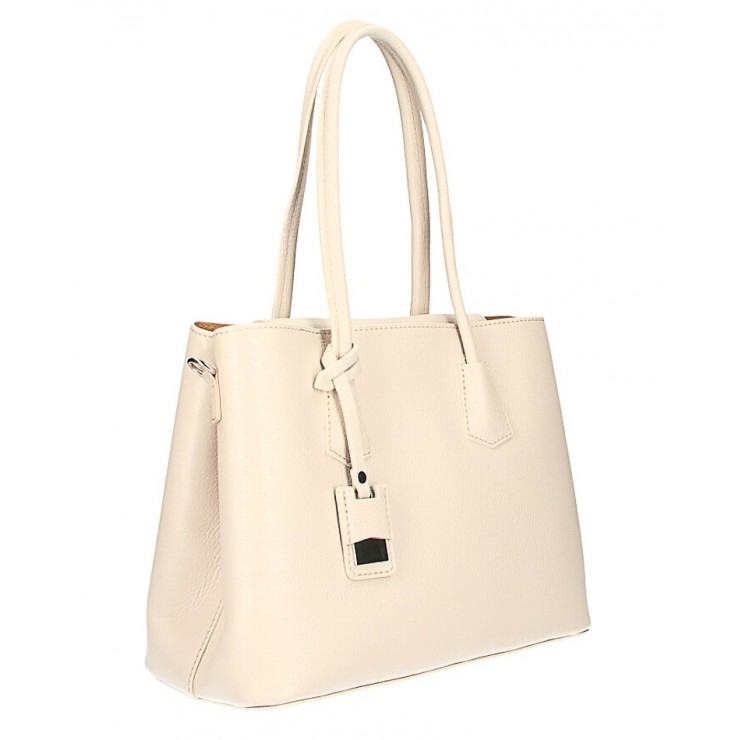 Genuine leather shoulder bag 521 beige Made in Italy