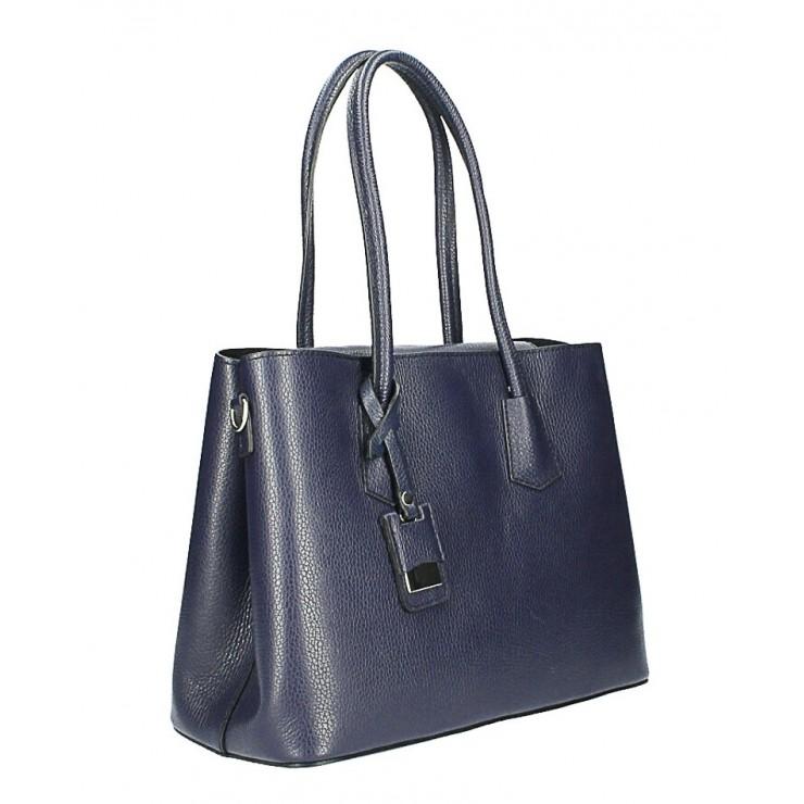 Genuine leather shoulder bag 521 dark blue Made in Italy