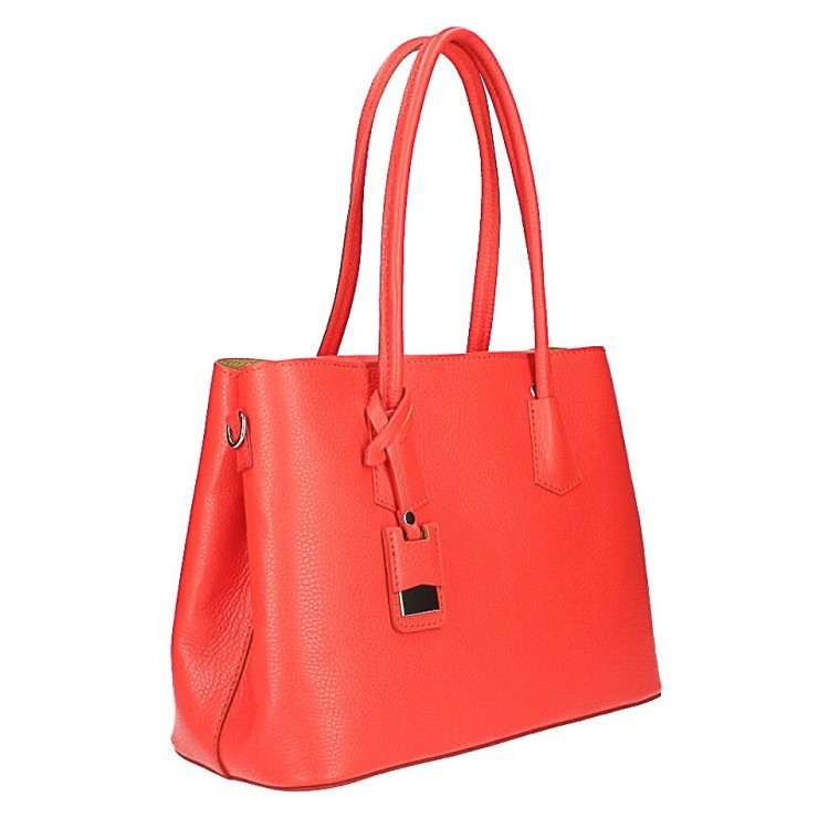 Genuine leather shoulder bag 521 coral Made in Italy