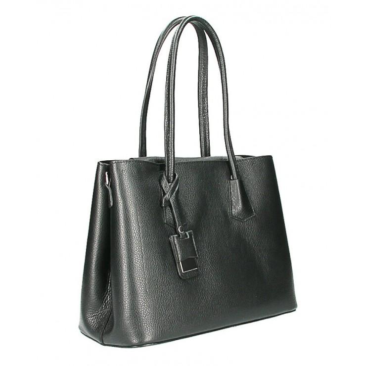 Kožená kabelka 521 čierna Made in Italy