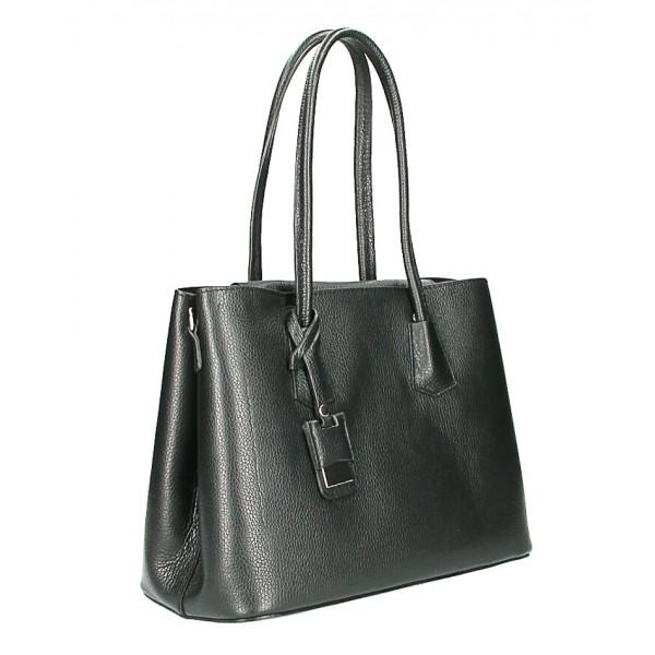 Kožená kabelka 521 čierna Made in Italy Čierna