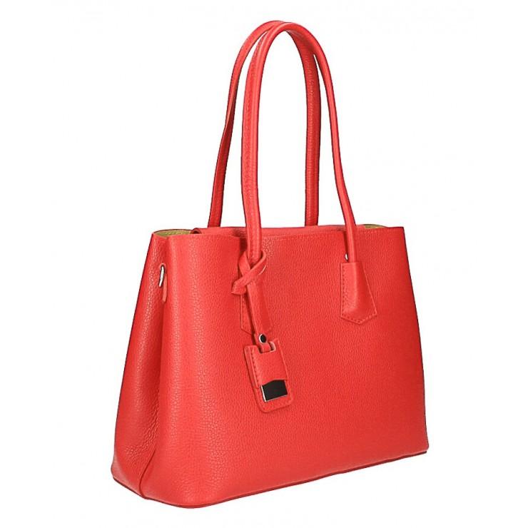 Kožená kabelka 521 červená Made in Italy