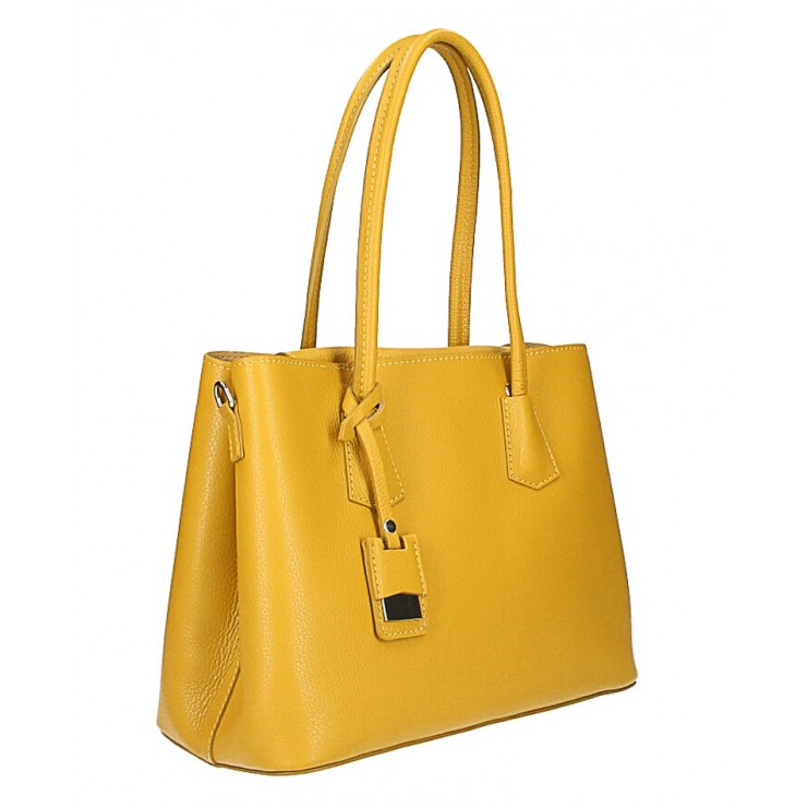 Genuine leather shoulder bag 521 mustard Made in Italy