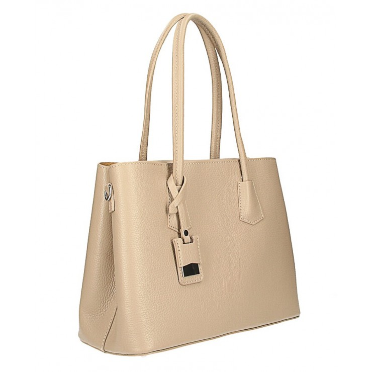 Genuine leather shoulder bag 521 taupe Made in Italy