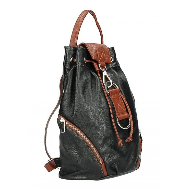 Kožený batoh 518 čierna+hnedá Made in Italy