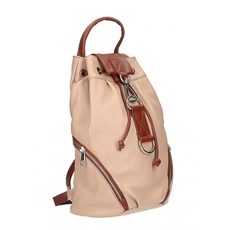 Kožený batoh 518 pudrově růžový Made in Italy