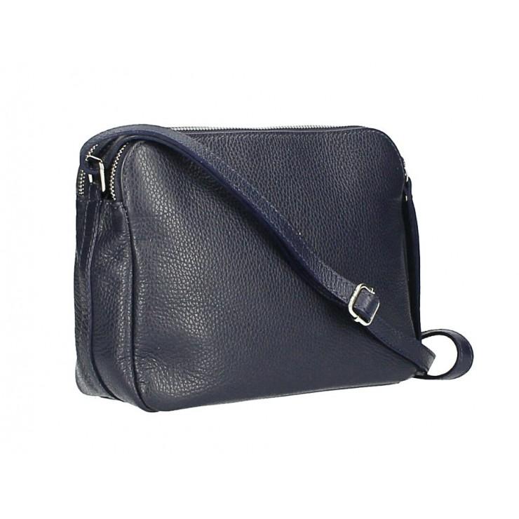Kožená kabelka na rameno 517 tmavomodrá Made in Italy