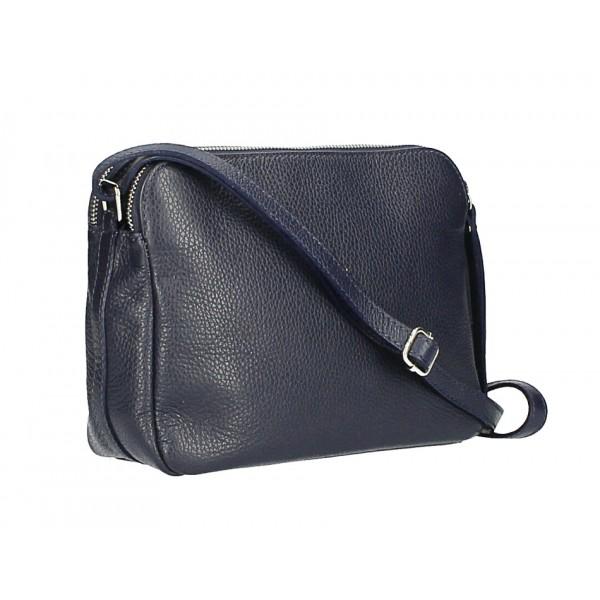 Kožená kabelka na rameno 517 tmavomodrá Made in Italy Modrá