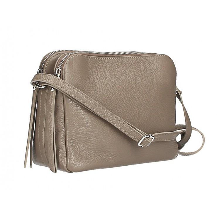 Kožená kabelka na rameno 517 tmavá šedohnedá Made in Italy