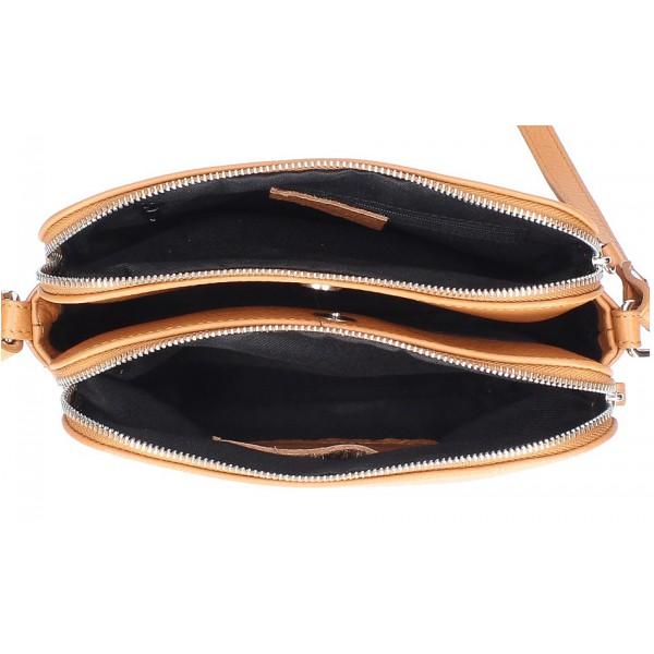 Kožená kabelka na rameno 517 tmavá šedohnedá Made in Italy Šedohnedá