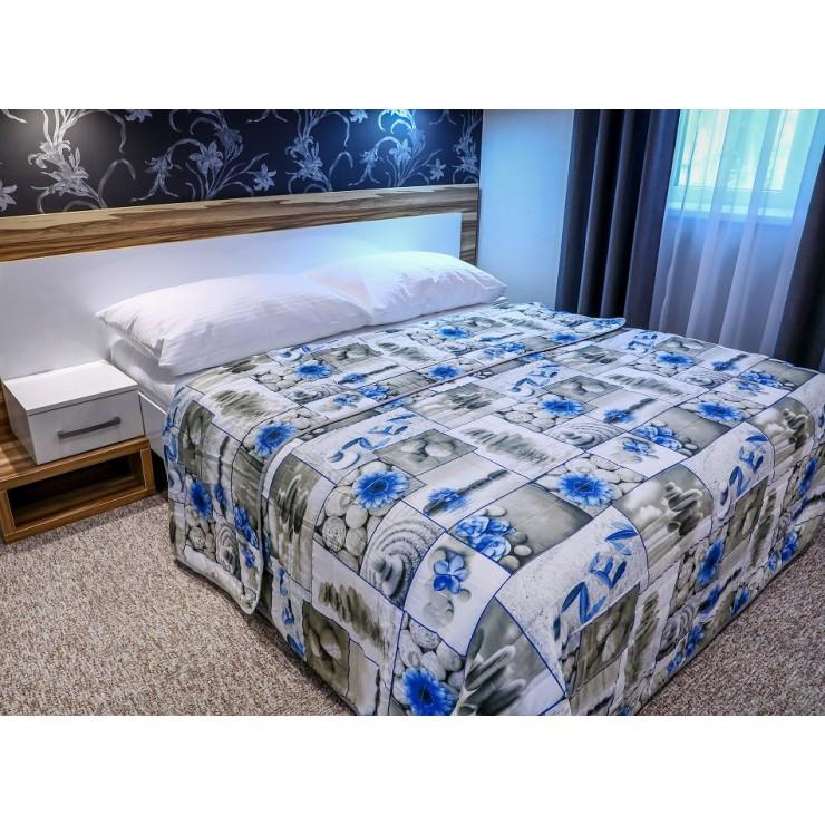 Prehoz na posteľ ZEN modrý