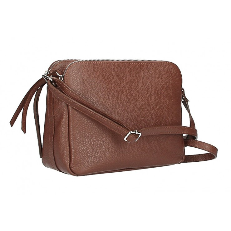 Genuine Leather Handbag 517 brown Made in Italy