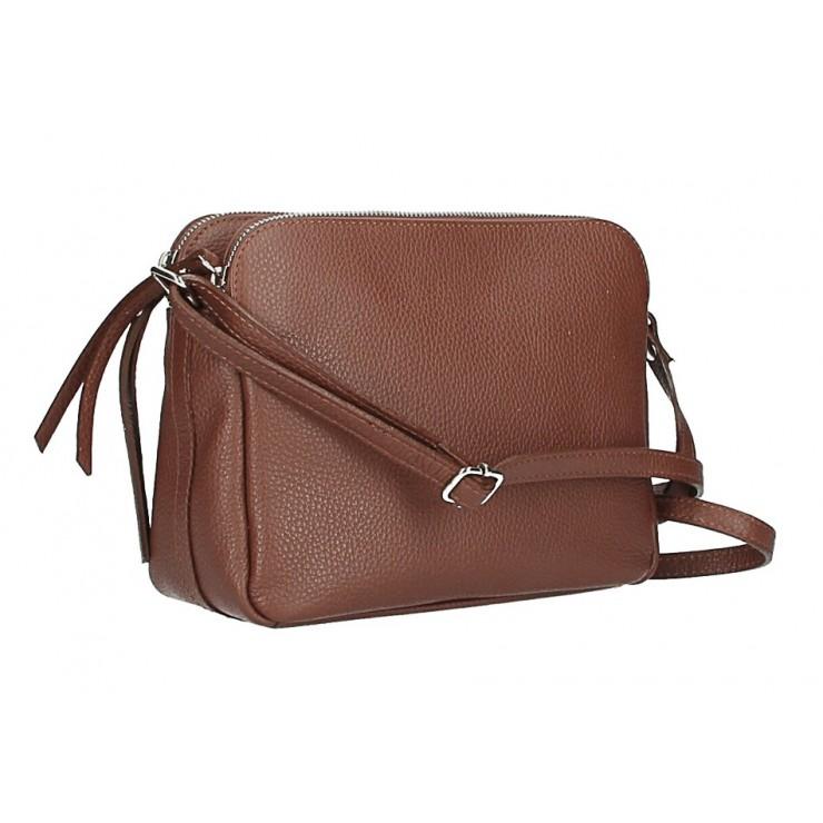 Kožená kabelka na rameno 517 hnedá Made in Italy