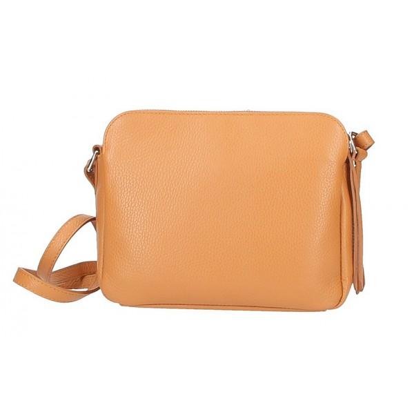 Kožená kabelka na rameno 517 hnedá Made in Italy Hnedá