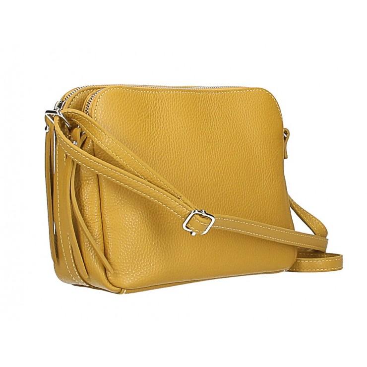 Genuine Leather Handbag 517 mustard Made in Italy