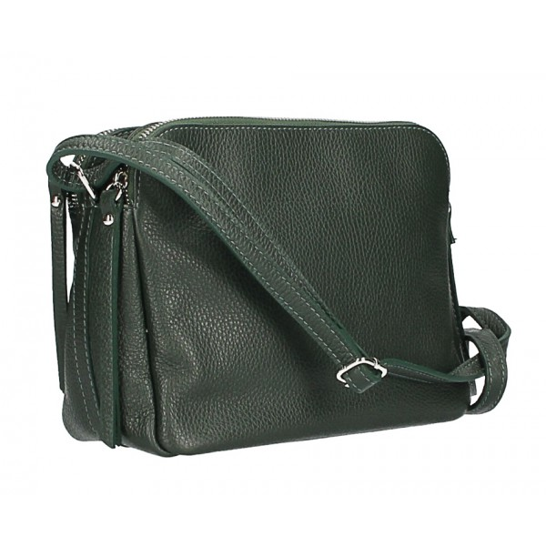 Kožená kabelka na rameno 517 tmavozelená Made in Italy Zelená