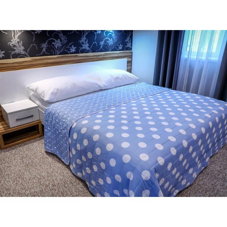Přehoz na postel 701P Pois nebesky modrý Made in Italy