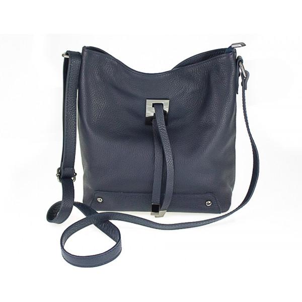 Kožená kabelka na rameno 825 tmavomodrá Modrá