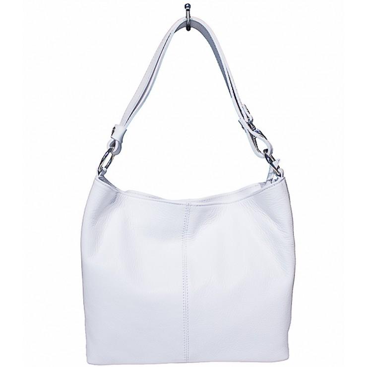Kožená kabelka na rameno 729 biela