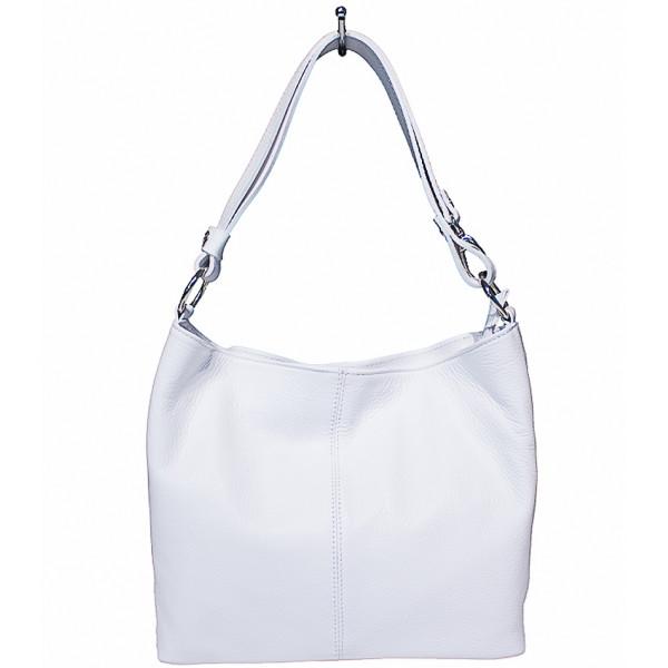 Kožená kabelka na rameno 729 biela Biela
