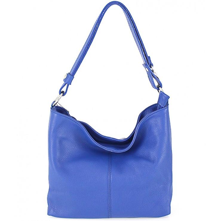 Kožená kabelka na rameno 729 azurově modrá