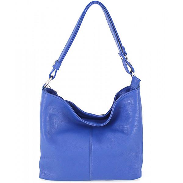 Kožená kabelka na rameno 729 azurovo modrá Made in Italy Modrá