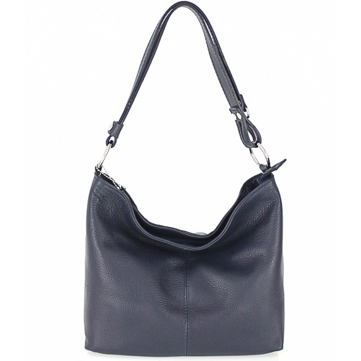 Genuine Leather Handbag 729 dark blue