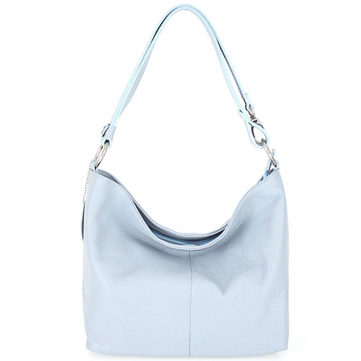 Genuine Leather Handbag 729 light blue
