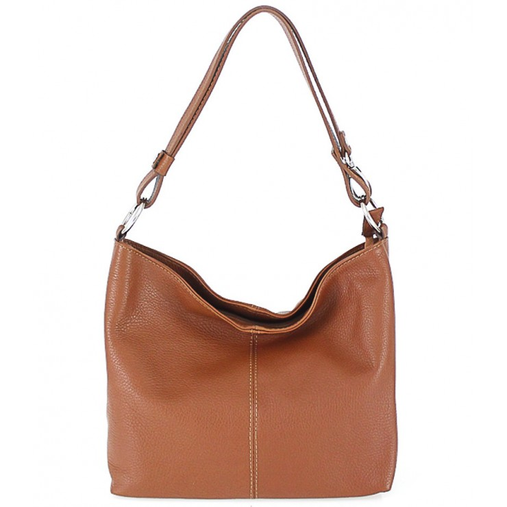 Genuine Leather Handbag 729 cognac